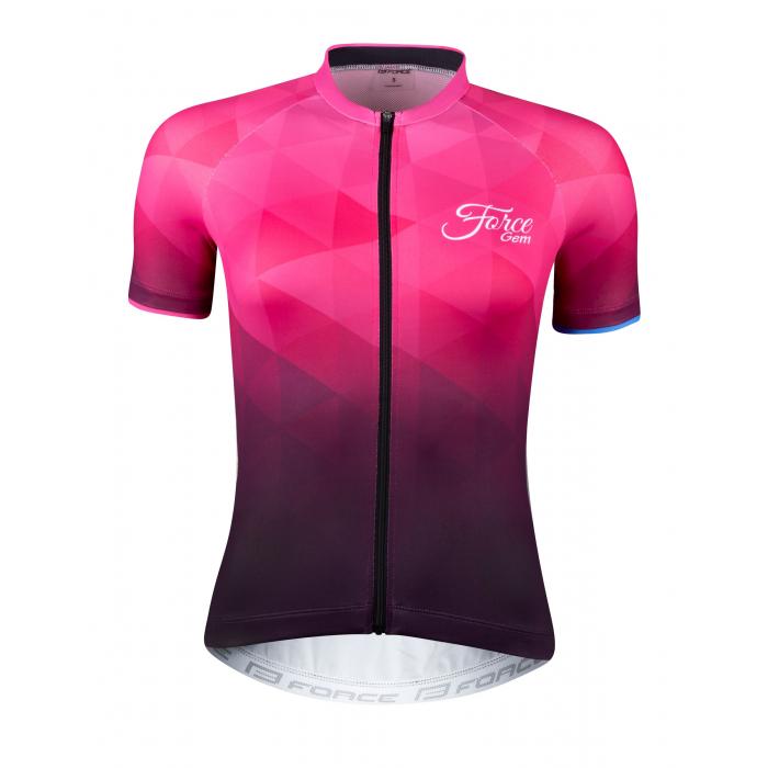 Dámský dres FORCE Gem růžový - krátký rukáv